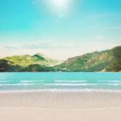 Beach and mountains island — Stock Photo