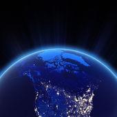Canada and north USA city lights at night — Stock Photo