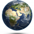 Stock Photo: Planet Earth white isolated