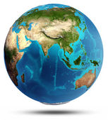 Globe Earth real relief and water — Stock Photo