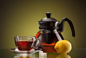 Piatto e tazza da tè — Foto Stock