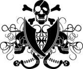 Piracy tattoo skull — Stock Vector