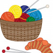 Stock Vector: Knitting, basket with wool balls
