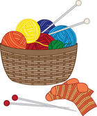 Knitting, basket with wool balls — Stock Vector