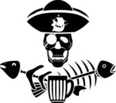 Estêncil de símbolo do humor pirataria taverna — Vetor de Stock