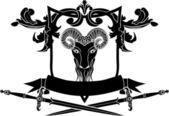 Fullface ram arms with sword — Stock Vector