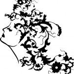 Fantasy woman floral face — Stock Vector
