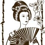 Traditional Japanese Geisha — Stock Vector
