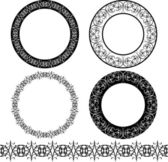 A set of black circular pattern — Stock Vector