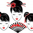Three portraits of Asian girls — Stock Vector