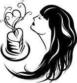 Girl enjoying the aroma of coffee — Stock Vector