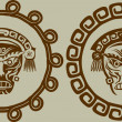 Native American masks in circular pattern — Image vectorielle