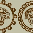 Vecteur: Native Americmasks in circular pattern