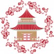 Asian House in a wreath of cherry, stencil — Stock Vector