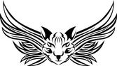 Head of cat with wings — Vector de stock