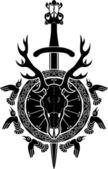 シカの頭骨、剣と盾 — ストックベクタ