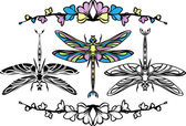Set dragonflies — Vector de stock