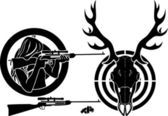 Set for deer hunting — 图库矢量图片