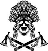 Skull in Indian headdress and crossed tomahawks — Stock Vector