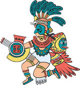 Aztec god, color version — Stock Vector