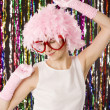 Beautiful girl in glasses with wig from — Stock Photo #1212012