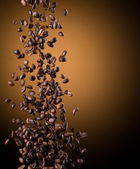 Flying coffee beans — Stok fotoğraf