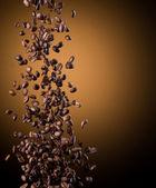 Vliegende koffie bonen — Stockfoto