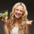 Happy healthy woman with salad — Stock Photo #13931558