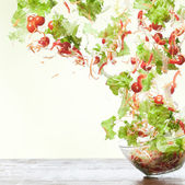 Flying salad — Stock Photo