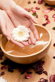 Mani di Spa.Woman con fiore — Foto Stock