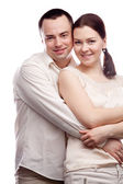 Portrait of happy couple isolated on white background — Stock Photo