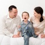 Happy family on white background — Stock Photo #23247928