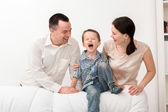 Happy family on white background — Stock Photo