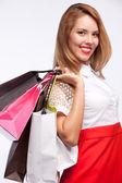 Shopping frau taschen — Stockfoto