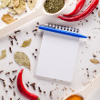 Notebook and pen to write recipes — Stock Photo
