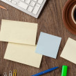 Stock Photo: Notebook and office supplies