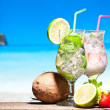 Stock Photo: Cocktails on a beach