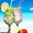 Cocktails on a beach — Stock Photo