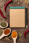 Peppers, spices in spoons, notebook and pencil — Stock Photo
