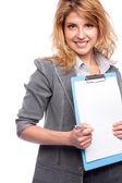 Closeup woman with a folder — Stock Photo