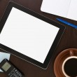 Workplace with blank digital tablet — Stock Photo