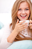 Woman with white cup — Stock Photo