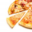 Pizza with the up cut off piece — Stock Photo