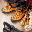 Hiking boots with trekking poles — Stock Photo