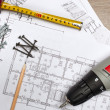 Blueprints with tools — Stock Photo
