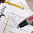 Blueprints with tools — Stock Photo #32985923