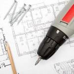 Blueprints with tools — Stock Photo #32986627