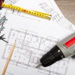 Blueprints with tools — Stock Photo