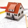 Scale model of house with tools — Stock Photo