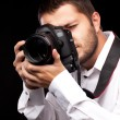 Photographer with camera — Stock fotografie